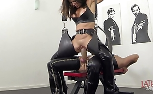 Way-out squirting added to pissing in latex