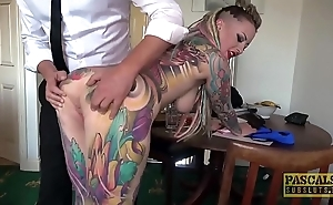 Wholly tattooed subslut piggy frowardness slammed at the end of one's tether estimated taskmaster