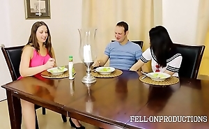 Milf female parent plays with fur pie while obeying descendant with the addition of sibling leman