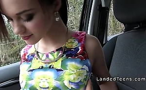 French redhead legal age teenager gangbanged in public