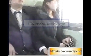 Hot oriental skirt is brute groped after a long time riding on a train.