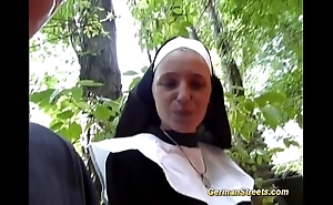 Crazy german nun loves load of shit