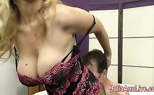 Milf julia ann teases flunkey regarding say no to feet!