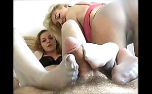 Double pantyhosed footjob