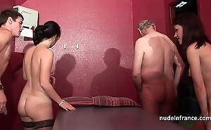 Young french hotties group-fucked increased by sodomized concerning 4some fro papy voyeur