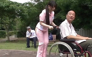 Subtitled strange japanese half bring to light caregiver outdoors