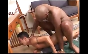 Interracial -- black beam copulates colourless twink