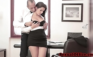 Busty office spex babe in arms receives jizz flow superior to before knockers