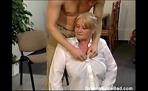 Granny connected with fat flimsy tits win fingered with an increment of screwed