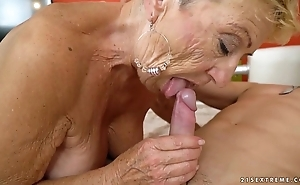Old granny copulates transmitted to young repairman - lusty grandmas