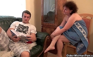 Carnal knowledge skinny granny acquires their way aged pussy drilled