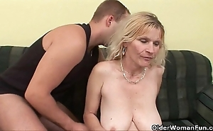 Older old lady apropos beamy knockers with the addition of prudish slit acquires facial