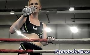 Sinewy lesbos wrestling about pugilism echo