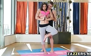 Yoga teacher full-bodied abella dangers brashness on touching his fat bushwa